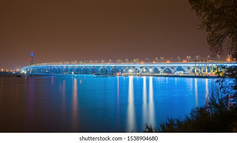 The Samuel De Champlain Bridge is a twin cable-stayed bridge built to replace the original Champlain Bridge over the Saint Lawrence River. Photographed at night with blue LED lighting.
