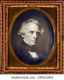 Samuel F. B. Morse (1791-1872), American painter and inventory, best known for his invention of the telegraph in 1835 and Morse code in 1838. 1845 Daguerreotype.