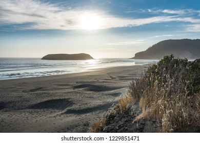 Samuel H Boardman State Beach in Oregon during a golden hour sunset