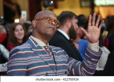 Samuel L. Jackson attends the European film premiere of 'Captain America: Civil War' at Vue Westfield on April 26, 2016 in London, England