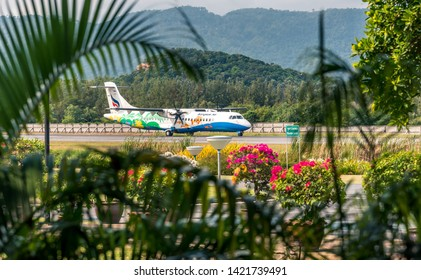 Samui Airport, Koh Samui/Thailand -Feb 05-02-19- Asian passenger airplane preparing for take off at Koh Samui airport.