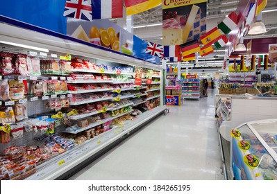 SAMUI - FEBRUARY 16: Aisle view of a Tesco Lotus supermarket on FEBRUARY 16, 2014 in Samui, Thailand. Tesco is the world's second largest retailer with 6,531 stores worldwide.