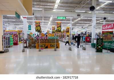 SAMUI - FEBRUARY 16: View of a Tesco Lotus supermarket on FEBRUARY 16, 2014 in Samui, Thailand. Tesco is the world's second largest retailer with 6,531 stores worldwide.