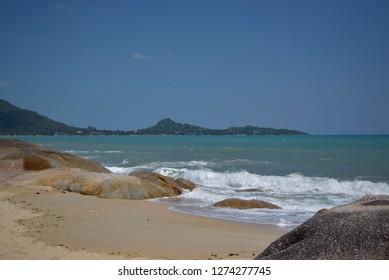 Samui island Thailand October 2018: Beautiful seascape on Samui Island Lamai beach on a sunny day.