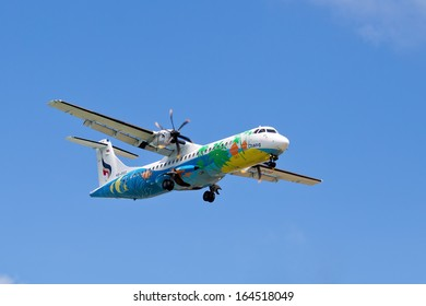 SAMUI - NOVEMBER 25:Flying an airplane airline Bangkok Airways ATR 72-500 takeoff on Nov 25, 2013 in Koh Samui, Thailand. Bangkok Airways Public Company Limited is a regional airline based in Bangkok