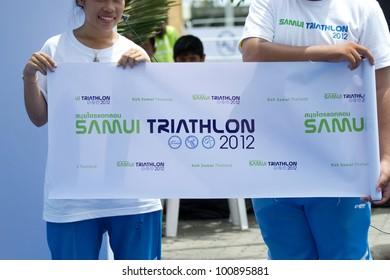 SAMUI, THAILAND - APRIL 22 2012: Samui triathlon 2012 event. At the finish point of  the triathlon on Sunday 22 April 2012 in Ko Samui island, Suratthani, Thailand.