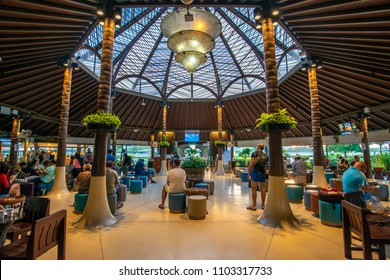 SAMUI, THAILAND - MAY 20 : Unique design of departure hall at waiting flight gate in Bangkok Airways airport in Samui island, Surratthani province, Thailand, on May 20, 2018.