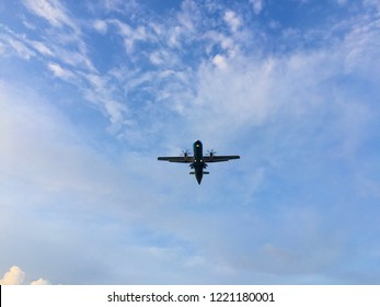 Samui, Thailand, October 30, 2018 : Low angle view of the aircraft with blue sky, Bangkok Airways by ATR 72-600 (REG : HS-PZH) approach to landing at Ko Samui Airport