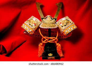 Samurai armor isolate on red background
