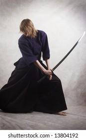 samurai with blade