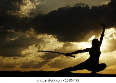 samurai is drilled on sundown