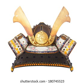 Samurai Helmet isolated on wood background