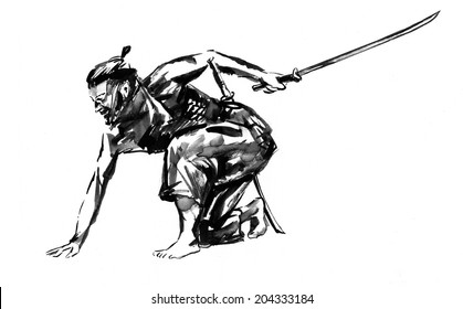 Samurai. Japanese man with a sword in his hand. Ink on paper drawing.