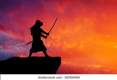 Samurai on top of mountain.