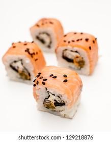 Samurai rolls isolated on white