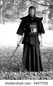 Samurai standing in the forest