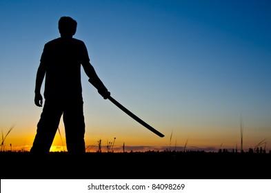 samurai warrior silhouette at sunset