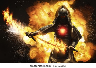 Samurai warrior with two fire swords
