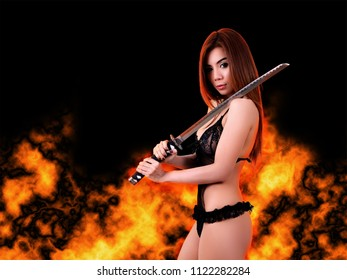 samurai woman with black sexy clothes in action