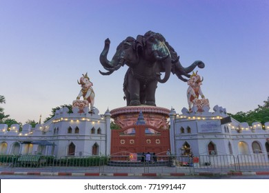 SAMUT PRAKAN, THAILAND - 09 December 2017 : Erawan Museum is a Elephant head sculpture with 3 heads. It is one of the important and unique tourist attraction of Samut Prakan. Located on Sukhumvit Road