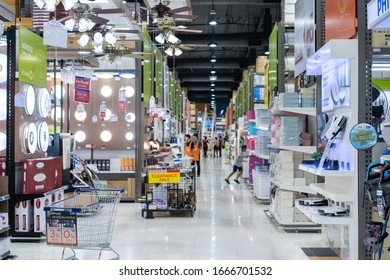 Samut Prakan, Thailand - 11 Jan 2020: Inside Homepro (deparment store) at Mega Bangna branch with local people walk and shop around inside it. Samut Prakan, Thailand.