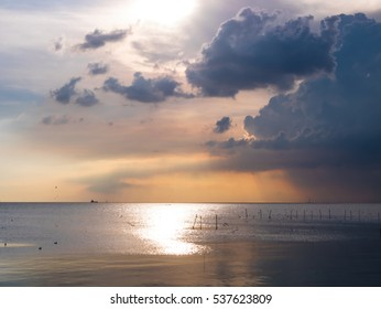 SAMUT PRAKAN THAILAND : amazing colorful cloud sky light and sea on twilight sunset time seascape