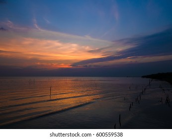 SAMUT PRAKAN THAILAND : amazing colorful sky cloud and sky on twilight sunset time seascape