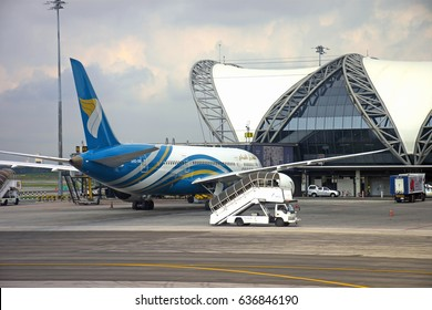 SAMUT PRAKAN, THAILAND - APR 8, 2017 : Oman Air plane parked at  the Suvarnabhumi Airport. It is the national airline of Oman. Based on the grounds of Muscat International Airport in Seeb, Muscat