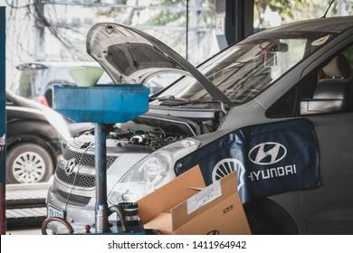 Samut Prakan, Thailand - April, 2019: Hyundai H1 with its hood open during the reparation at Hyundai Services center