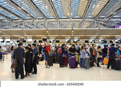 SAMUT PRAKAN, THAILAND - APRIL 8 , 2017 : Passengers are queuing at Suvarnabhumi Airport. It is one of two international airports serving Bangkok, Thailand.