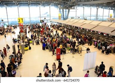 SAMUT PRAKAN, THAILAND - APRIL 8, 2017 : Suvarnabhumi Airport is one of two international airports serving Bangkok, Thailand. The airport is located in Bang Phli, Samut Prakan about 25 km of Bangkok.