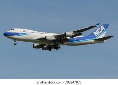 Samut Prakan, Thailand. August 11, 2017. Nippon Cargo Airlines Boeing 747-400F Reg. JA05KZ from Japan on Short Final for Landing at Suvarnabhumi International Airport with Blue Sky.