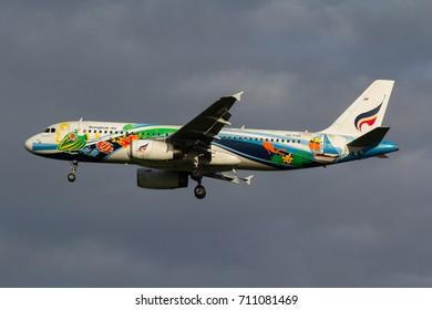 Samut Prakan, Thailand. August 11, 2017. Bangkok Airways Airbus A320-200 Reg. HS-PGV on Short Final for Landing at Suvarnabhumi International Airport.