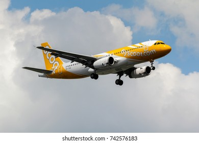 Samut Prakan, Thailand. August 11, 2017. Scoot Airbus A320-232 Reg. 9V-TAQ from Singapore on Short Final Approaching for Landing at Suvarnabhumi International Airport with Beautiful Cloud Sky.