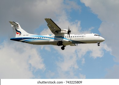 Samut Prakan, Thailand. August 11, 2017. Bangkok Airways ATR 72-600 (72-212A) Reg. HS-PZF on Short Final Approaching for Landing at Suvarnabhumi International Airport with Beautiful Cloud Sky.