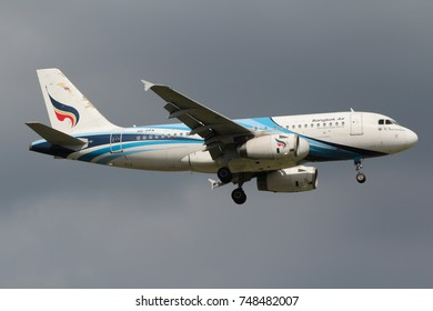 Samut Prakan, Thailand. August 11, 2017. Bangkok Airways Airbus A319-132 Reg. HS-PPA on Short Final Approaching for Landing at Suvarnabhumi International Airport with Blue Sky.