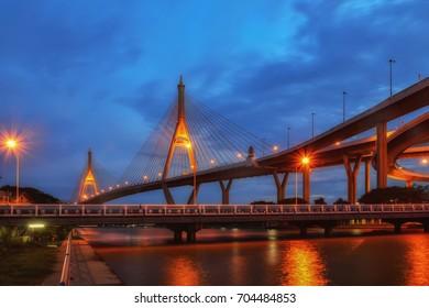SAMUT PRAKAN, THAILAND - AUGUST 22, 2017: Bhumibol 2 Bridge that a part of Industrial Ring Road Bridge. It is the southern bridge and links Phra Pradaeng district and Samrong Tai Sub-district