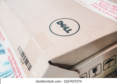 Samut Prakan, Thailand - December 26, 2018: Laptop component cardboard box with Dell logo on the top