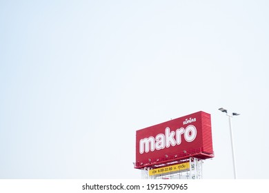 Samut Prakan, Thailand - February 13, 2021 : Makro sign. Makro is a famous wholesale center in Thailand where is operated by Siam Makro Public Company Limited was established in 1988.