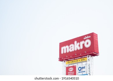 Samut Prakan, Thailand - February 14, 2021 : Sign of Makro Store. Makro is Public Company Limited is Operator in Wholesale Trade Center for Professional Business Operators in Thailand.