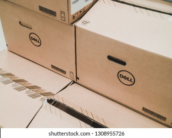 Samut Prakan, Thailand - February 8, 2019: Dell Cardboard box package containing Dell Optiplex Desktop PC