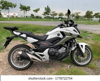 Samut Prakan, Thailand, July 5, 2020 :  Motorbike big bike Handa NC750X, 2017 Year. Is a high-performance Touring Adventure.