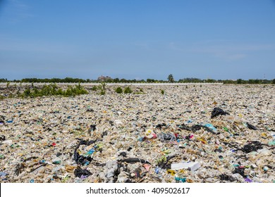 Samut Prakan, THAILAND - June 12, 2015: Large landfill in Praeksa district - 1 year and a half after big fire (March, 2014). This case is the beginning of calling for control of dumpsite in Thailand.