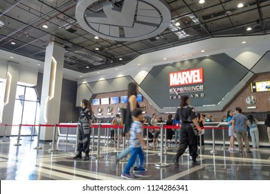 SAMUT PRAKAN, THAILAND - JUNE 30, 2018: The Marvel Experience Thailand now opening in Thailand at MEGA BANGNA that family walking in hall to buy ticket for get more experience with super hero Marvel.