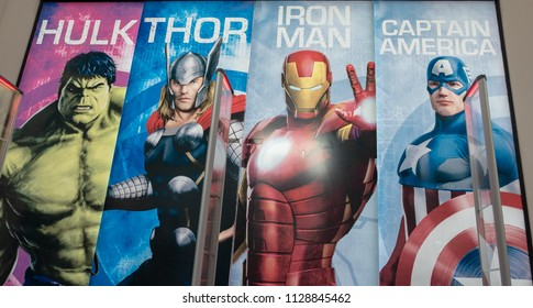 SAMUT PRAKAN, THAILAND - JUNE 30, 2018: The Marvel Experience Thailand now opening in Thailand at MEGA BANGNA, with big poster of Hulk, Thor, Iron man and captain America.