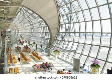 SAMUT PRAKAN, THAILAND - MAR 3, 2016 : Suvarnabhumi Airport is one of two international airports serving Bangkok, Thailand. The airport is located in Bang Phli, Samut Prakan about 25 km of Bangkok.