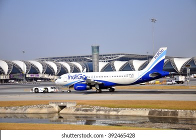 SAMUT PRAKAN, THAILAND - MAR 3, 2016 : IndiGo plane parked at  the Suvarnabhumi Airport. IndiGo is an Indian low-cost airline headquartered at Gurgaon, India. It is the largest airline in India.