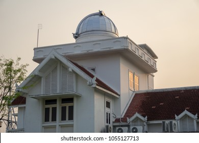 SAMUT PRAKAN, THAILAND - MARCH 24, 2018 : The 60 years old first observatory and planetarium in Thailand on March 24, 2018 in Royal Thai Navy academy, Samut Prakan, Thailand.