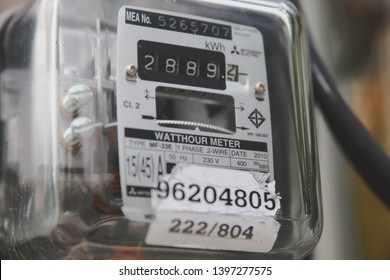 Samut Prakan, Thailand - May 14, 2019: Close up of Thai Metropolian Electricity Authority watt hour meter. This meter measure how much the house owner should pay their electric bills.