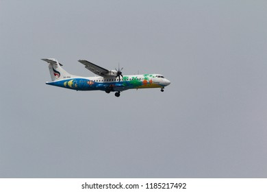 Samut Prakan, Thailand. May 22, 2013. Bangkok Airways ATR 72-500 (72-212A) Reg. HS-PGG on Short Final Approaching for Landing at Suvarnabhumi International Airport.